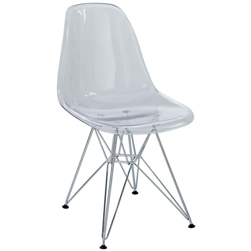 Plastic Clear Chair Paris Modern Transparent Molded Plastic Dining Side Chair W Steel Frame Clear 848387005238 Ebay