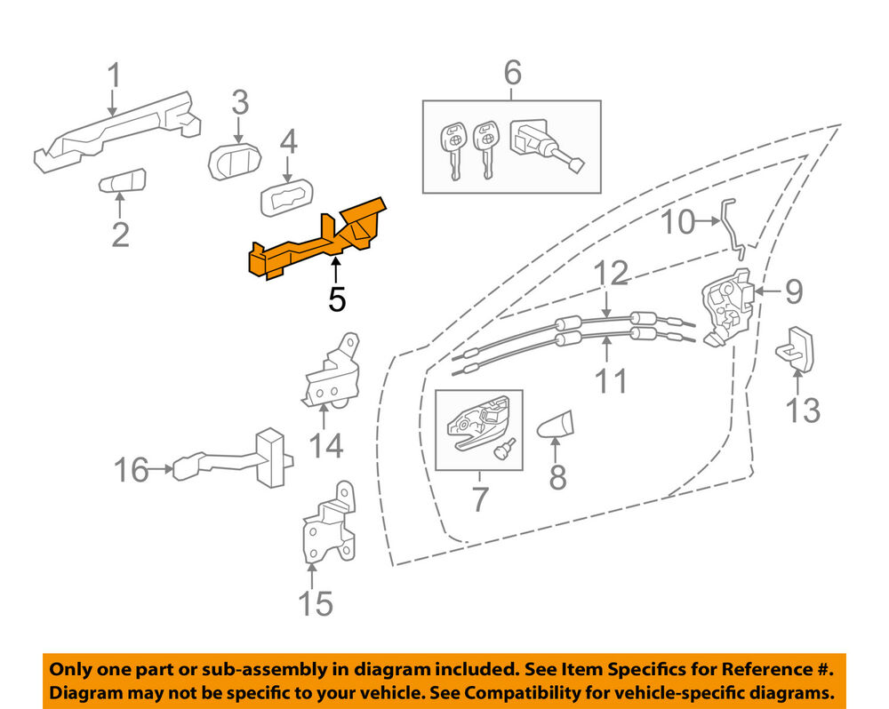 medium resolution of details about toyota oem 12 17 camry front door handle base left 6920206120