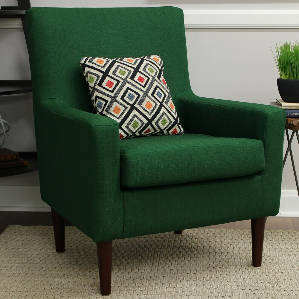 Green Upholstered Chair Emerald Green Accent Arm Chair Lounge Upholstered Fabric Mid Century Contemporar Ebay
