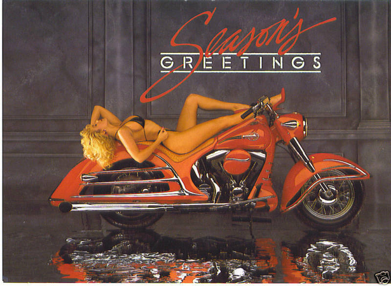 Motorcycle Christmas Greeting Cards With Harley Davidson
