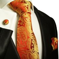 Elegant Red & Gold Paul Malone Paisley Tie Set +695CH | eBay