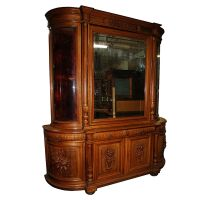 European Antique Oak Huntboard/ Curio Cabinet #4581