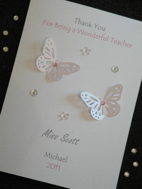 Handmade Personalised Thank You Teacher Birthday Card EBay