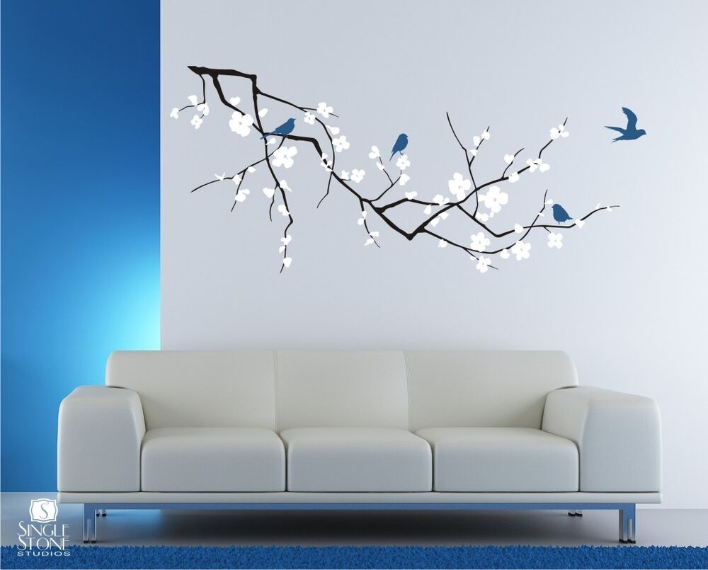 Wall Decals Cherry Blossom with Birds 3 Colors  Vinyl Art Stickers  eBay