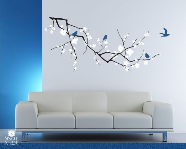Wall Decals Cherry Blossom With Birds 3 Colors - Vinyl