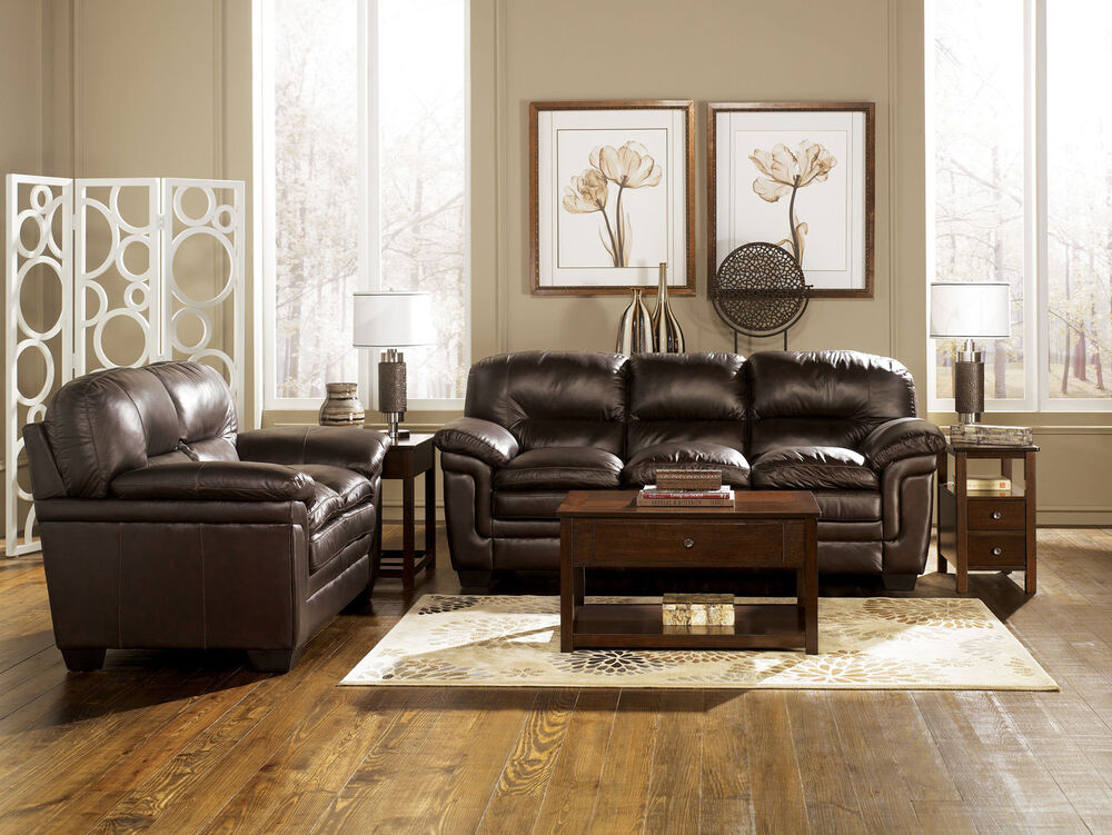 PARKER - CONTEMPORARY GENUINE BROWN LEATHER SOFA COUCH SET ...