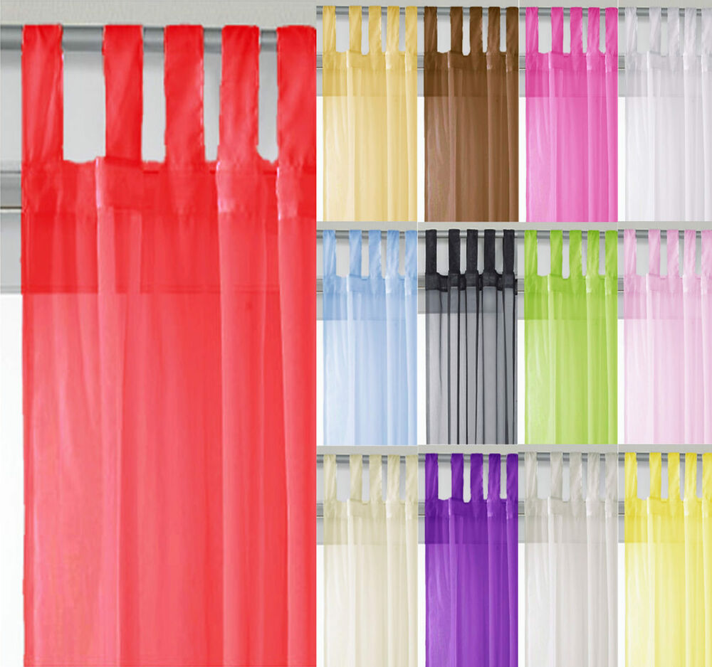 Voile Tab Top Curtain Panel All Sizes Colours FREE PP  eBay