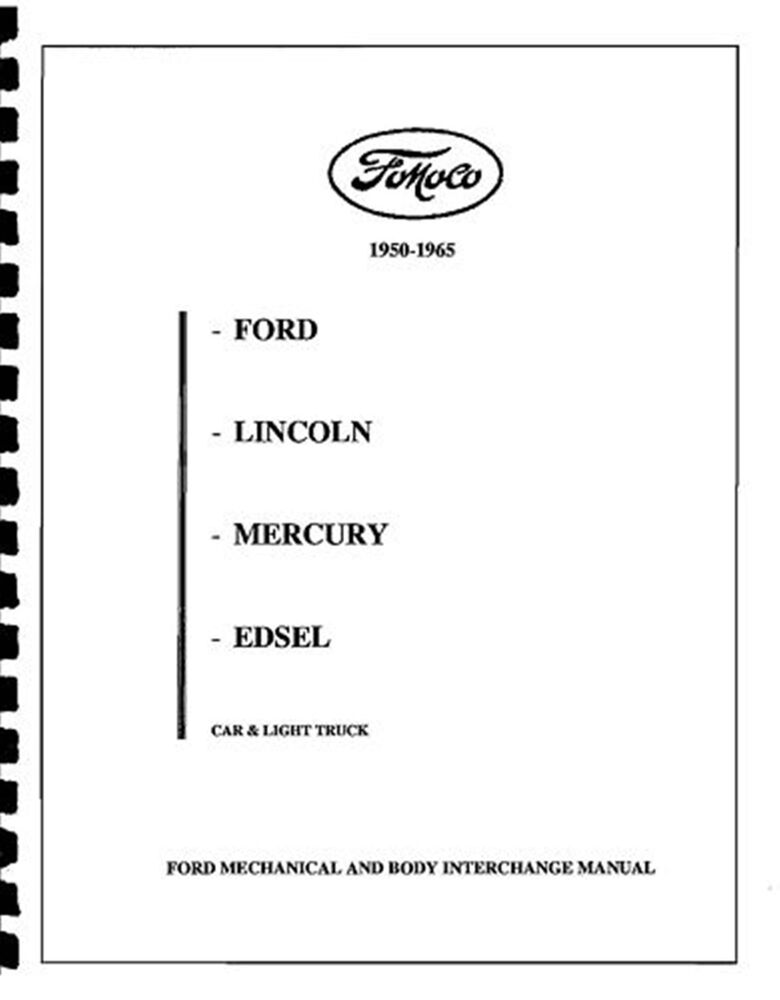 FORD & EDSEL PARTS INTERCHANGE 50 51 52 53 54 55 56 57 58