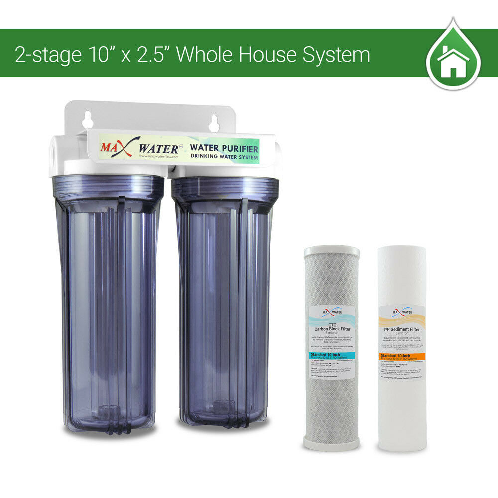 "2 Stage10"" Whole House Water Filter Sediment Carbon Filter"