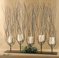 Tree Branch CANDLE HOLDER Twisted Wire Twig Brown Metal ...