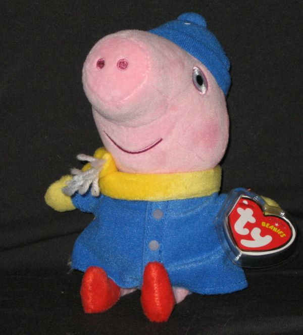 Ty George Winter Peppa Pig Beanie Baby - Mint With