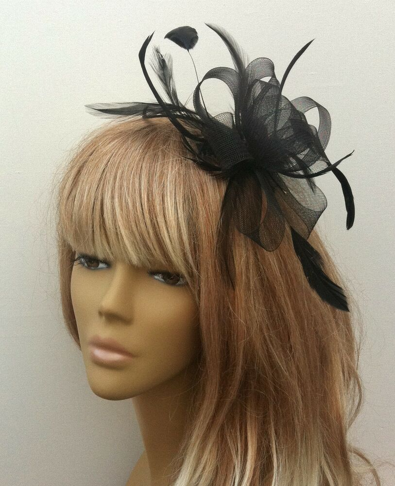 New Black Coiled Feather Fascinator Headpiece Weddings