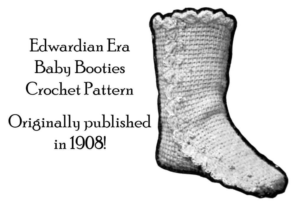 1908 Baby Booties Boots Vintage Crochet Pattern Edwardian