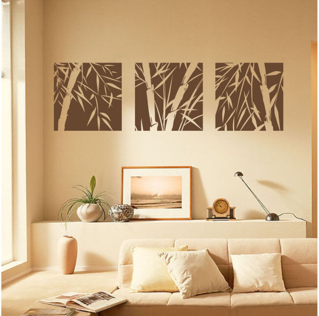 3 Large Pcs Bamboo Removable Wall Art Stickers Vinyl Decal