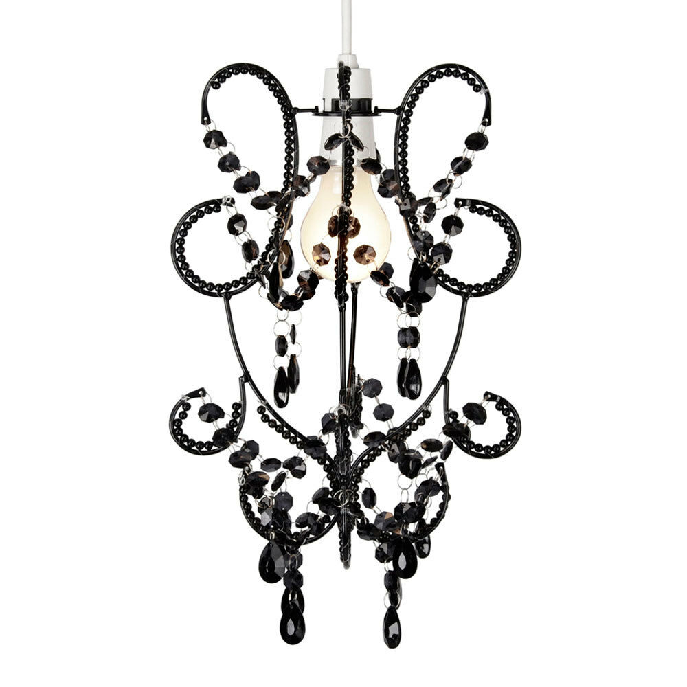 Vintage Style Black Beaded Ceiling Light Pendant Shade
