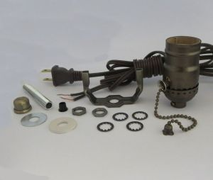 Antique brass lamp kit: 8' brown cord,offon pull chain