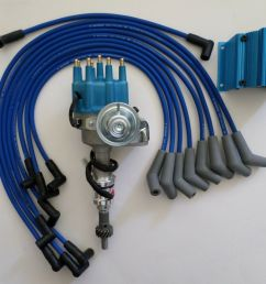 details about small block ford 289 302 blue small cap hei distributor coil spark plug wires [ 1000 x 851 Pixel ]