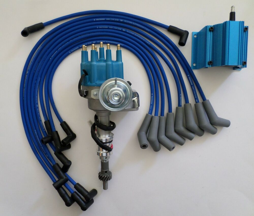 hight resolution of details about small block ford 289 302 blue small cap hei distributor coil spark plug wires
