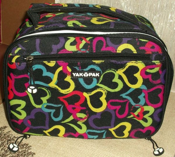 Yak Pak Lunch Box Bag Black With Hearts Tags