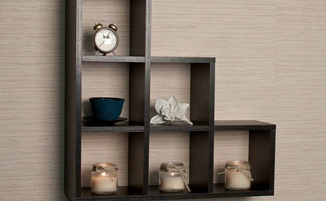 Stepped Six Cubby Decorative Black Wall Shelf Ff4813b