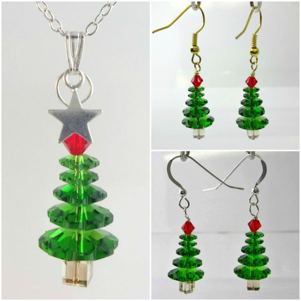 Crystal Christmas Tree Necklace Earrings Made with