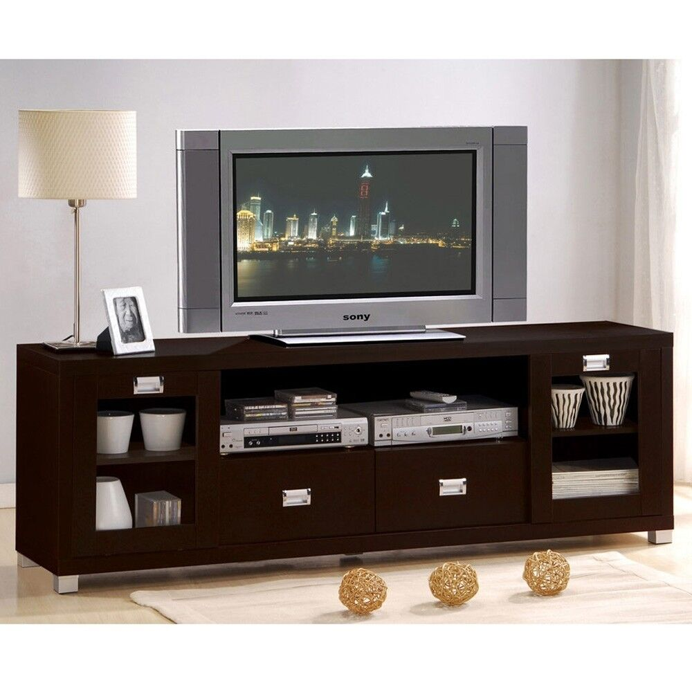 Contemporary Commerce Espresso Finish TV Stand Cabinet Entertainment Console  eBay