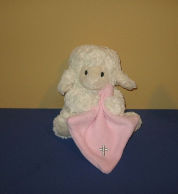 "8"" Nat & Jules Jesus Loves Baby Lamb With Pink Blanket"