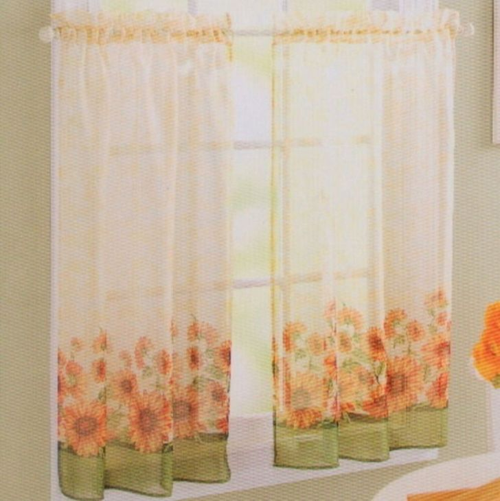 Country Sunflower Green Yellow Kitchen Curtain 24l Tier Set