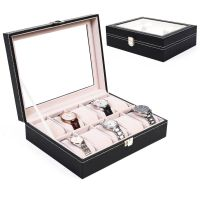 New PU Leather 10 Slots Wrist Watch Display Box Storage ...
