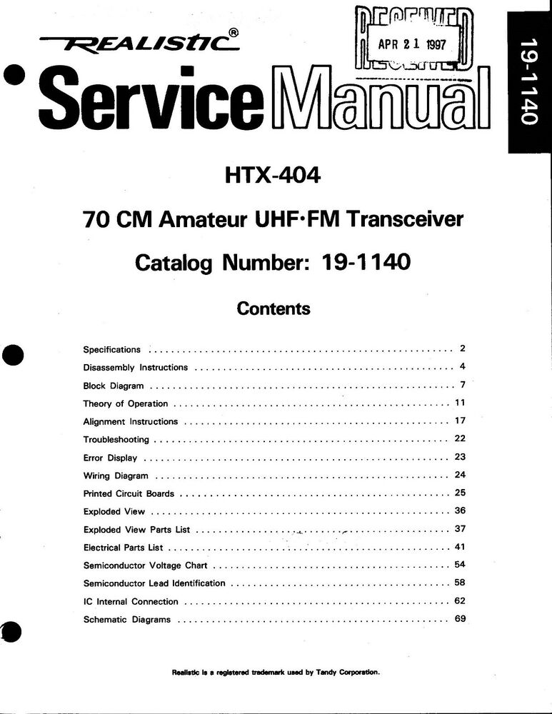 Realistic HTX-404 Service and Owners Manual * CDROM * PDF