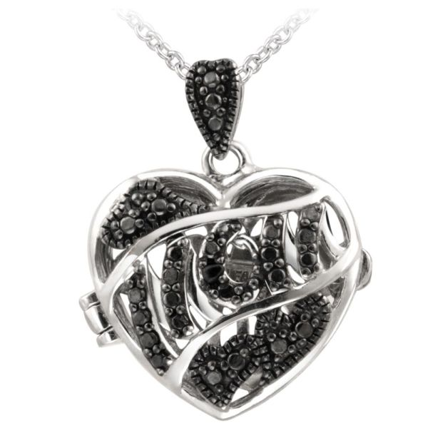 Silver Heart Locket Necklace with Diamonds