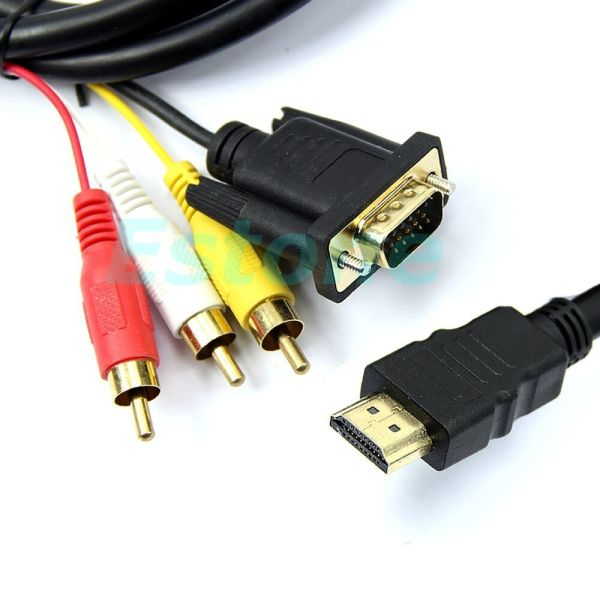 1pc 5feet 1.5m Gold Hdmi Vga 3 Rca Converter Adapter Cable 1080p Hdtv