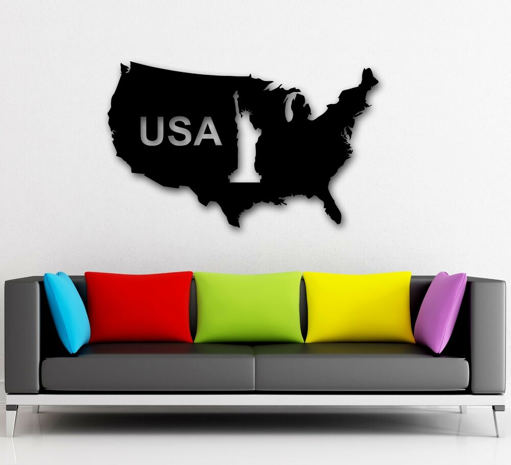 Wall Stickers Vinyl Decal Map of United States USA Statue