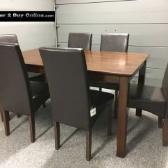 Dark Brown Leather Chair Covers Weddingbee Wooden Dining Table And 6 Faux Chairs Oak Walnut Finish New | Ebay