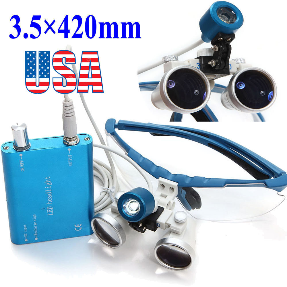 Blue Dental Loupes Surgical Medical Binocular 35X 420mm