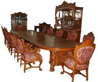 16-Pc. Heavily Carved Oak Winged Griffin Dining Set by R.J ...