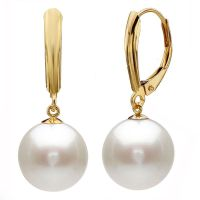 12MM White South Sea Shell Pearl Gold Plated Drop Dangle