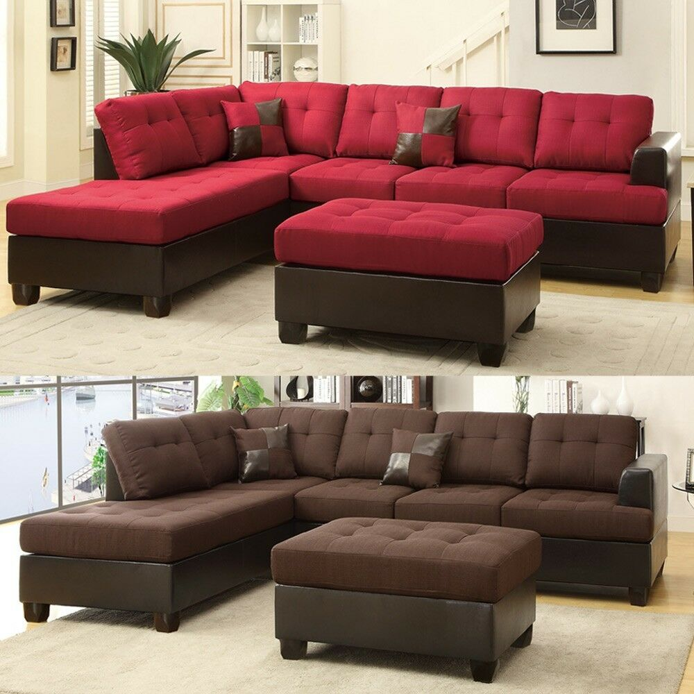 3 pcs Large Living Room Reversible Sectional Sofa Chaise Set Ottoman Plush Seat  eBay