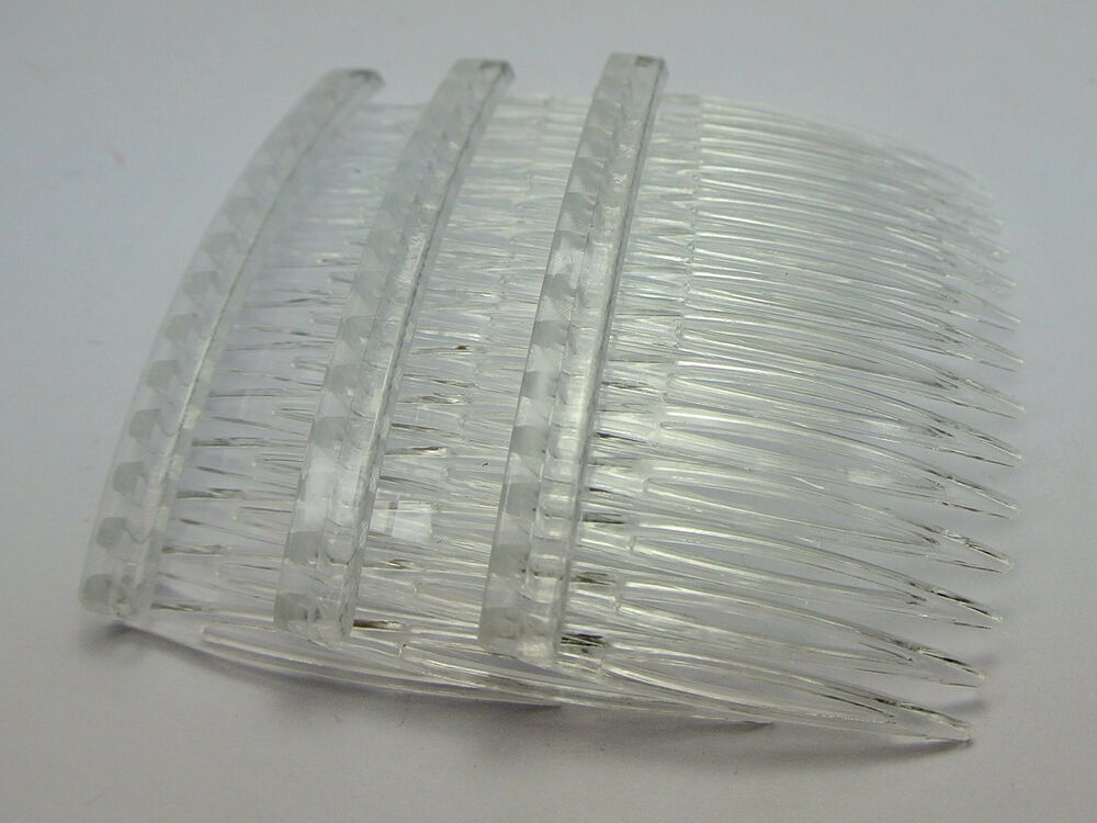 20 Clear Plastic Hair Clips Side Combs Pin Barrettes