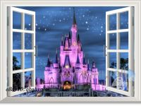 60X80cm Disney Princess Castle Star 3D Window Wall Decals ...