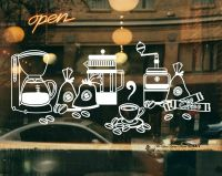 Cake Coffee Cafe Shop Beans Pot Window Sign Vinyl Stickers ...
