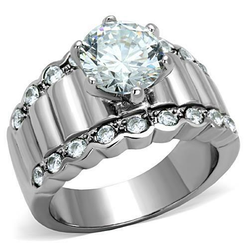 Round Solitaire  Accents CZ Stainless Steel Engagement Wedding Wide Band Ring  eBay