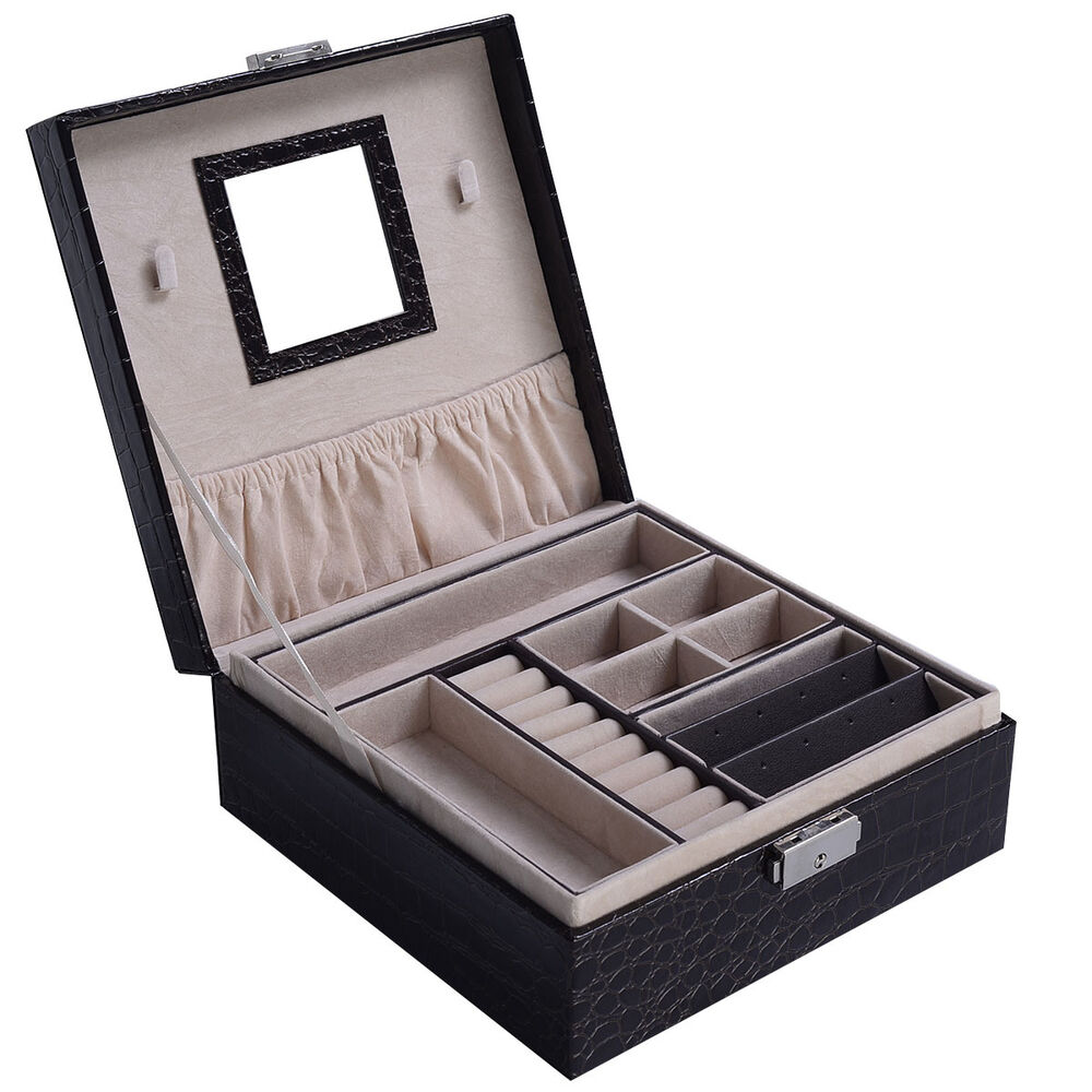 Jewelry Box Storage Organizer Case Ring Earring Necklace
