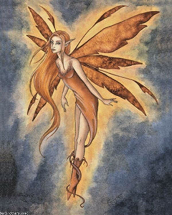 Amy Brown Sticker Decal Fairy Faery Firefly Yellow Orange