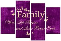 PURPLE CREAM CANVAS FAMILY QUOTE WRITING PICTURE 4 PANEL ...