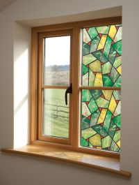 STAINED GLASS GREEN MOSAIC WINDOW DECORATION FILM ...