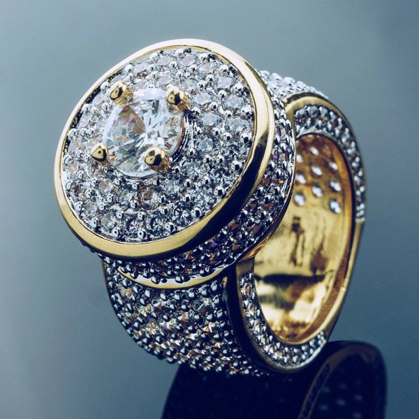 18k Gold Cluster Iced Lab Simulated Diamond Band