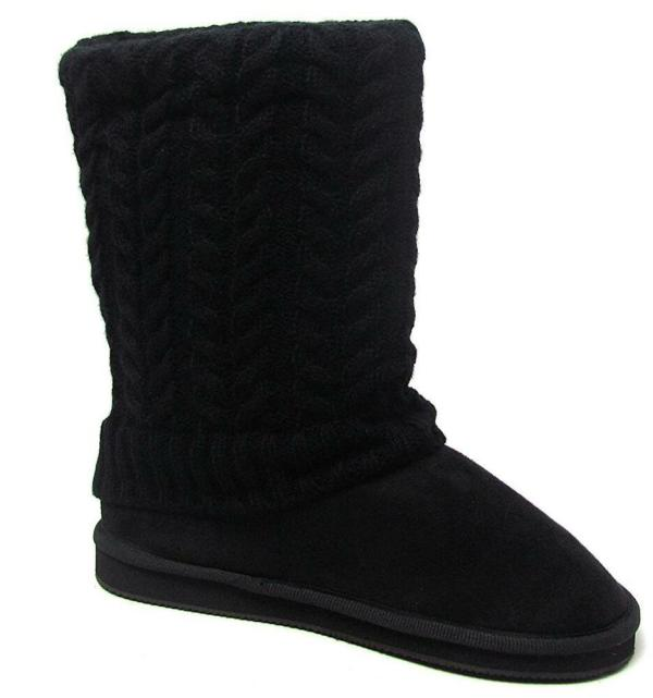 Womens Black Sweater Boots Fashion Mid Calf Foldover Cable Knit Size 6 -11