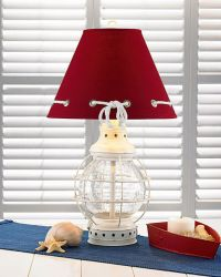 Nautical Anchor Light Glass Lantern Electric Lamp