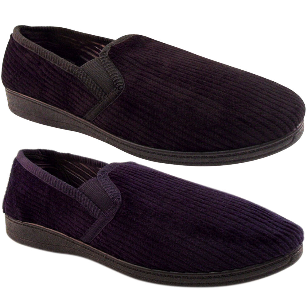 NEW MENS CORD CORDUROY HARD SOLE SLIPPERS BEDROOM OUTDOOR